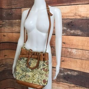 Rare Cole Haan Florals Canvas Brown Leather Bag